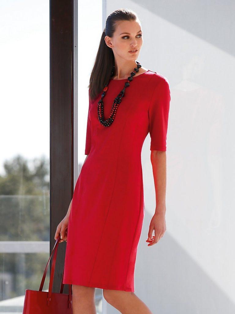 best service ad20e 1a36a Formal Genial Rotes Kleid Langarm Design - Abendkleid