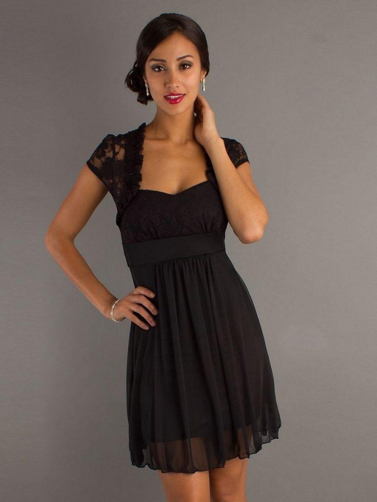 Formal Genial Schwarzes Kurzes Kleid Mit Spitze Galerie