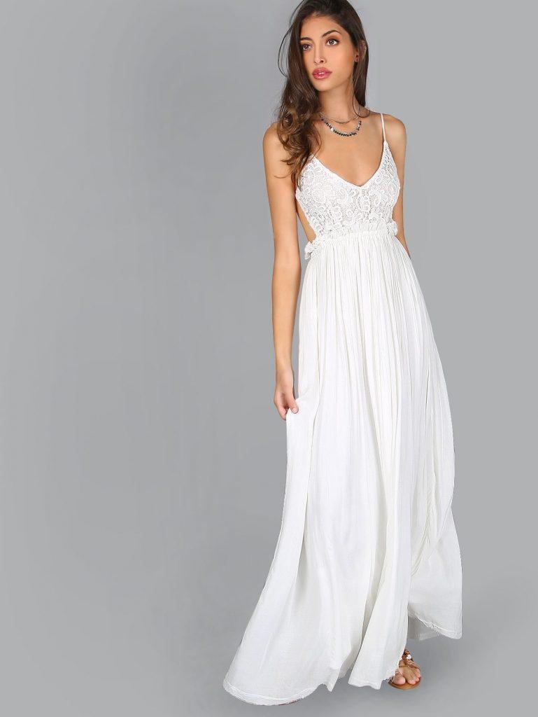 formal genial sommerkleid lang weiß Ärmel - abendkleid