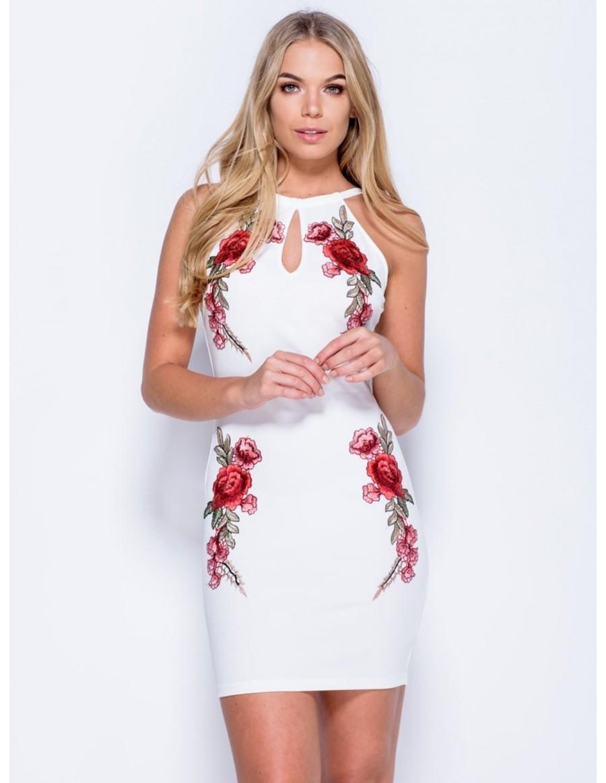formal luxurius weißes kleid mit blumen für 2019 - abendkleid