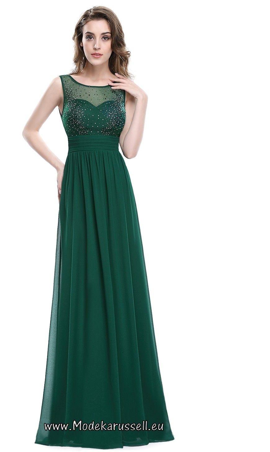 Formal Luxus Abendkleid Lang Grün Ärmel - Abendkleid