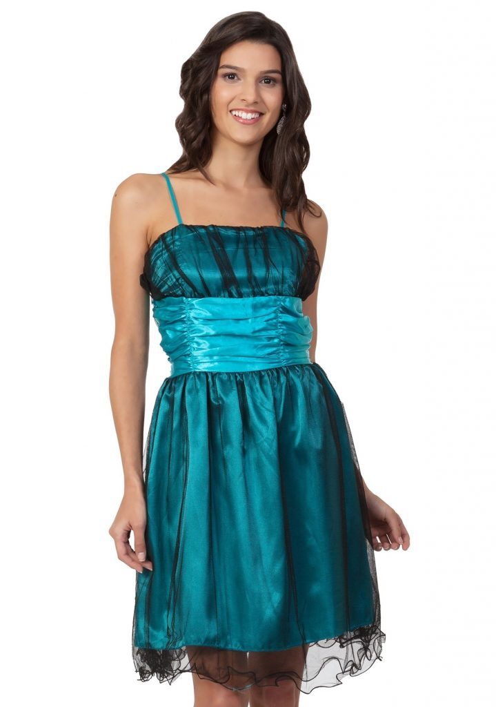 sale retailer 008a6 f8052 Formal Top Kleid Türkis Kurz Stylish - Abendkleid