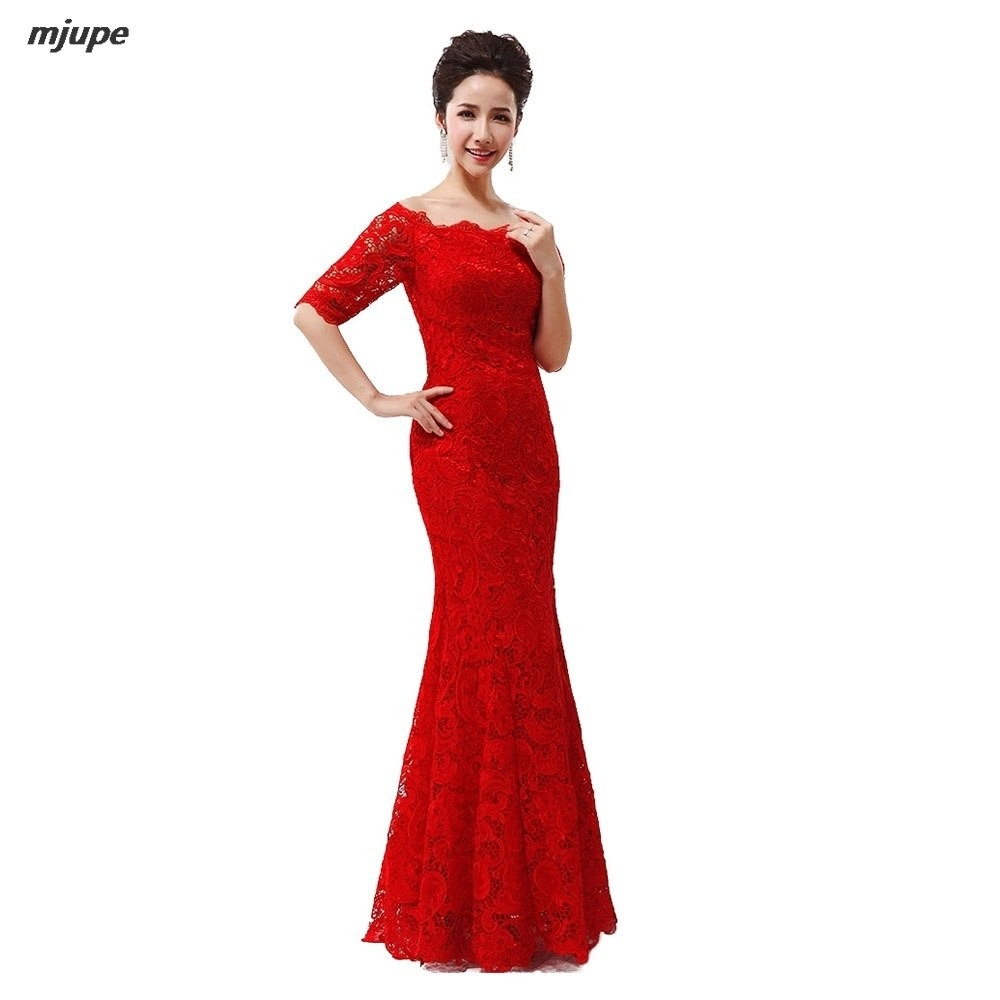 Abend Fantastisch Abendkleid Rot Spitze Lang ÄrmelDesigner Elegant Abendkleid Rot Spitze Lang Design