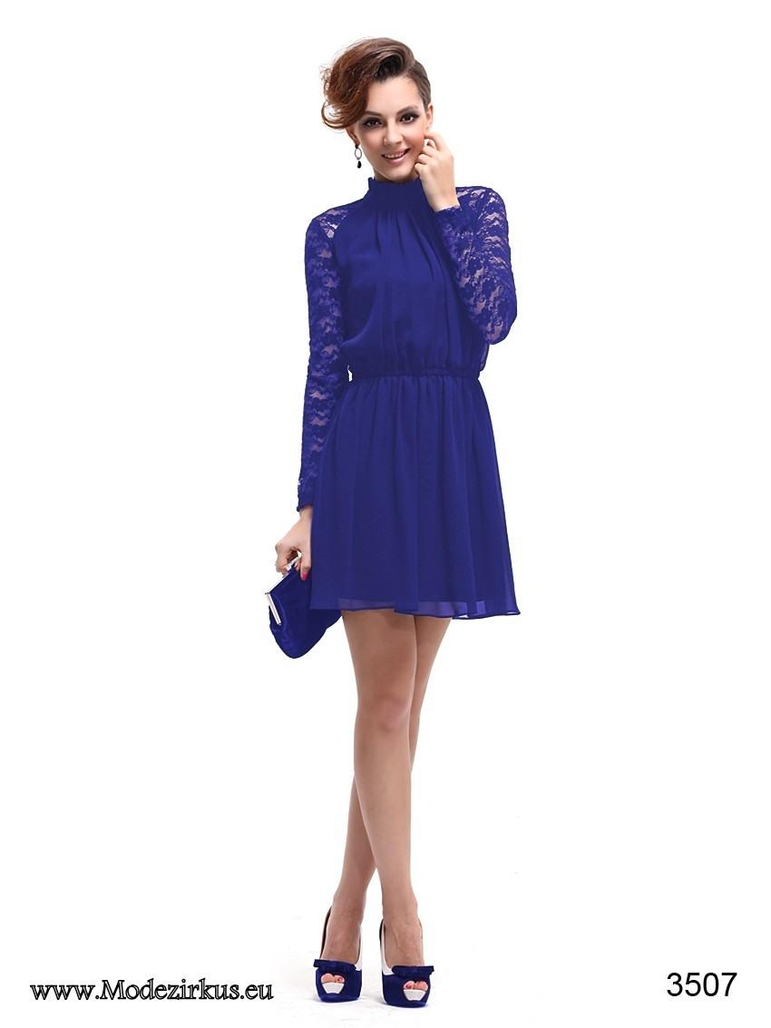 Perfekt Blaues Kleid Langarm Stylish - Abendkleid
