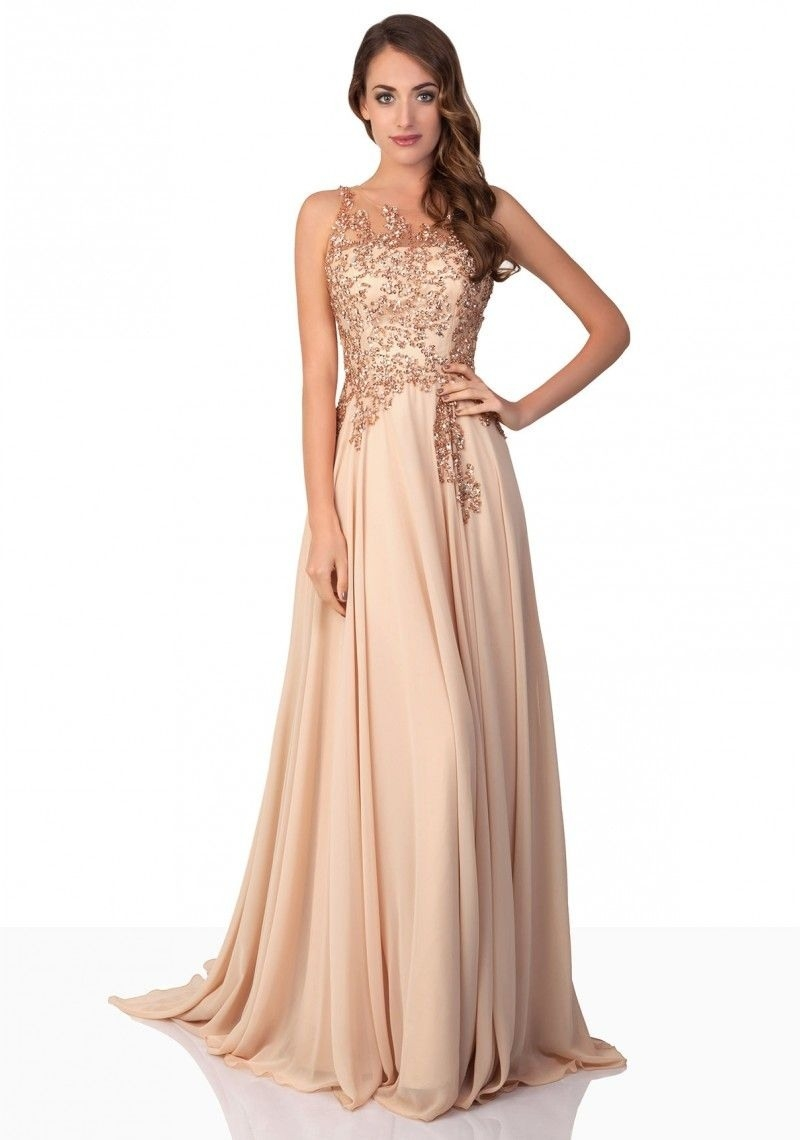 Designer Elegant Kleid Lang Beige BoutiqueAbend Spektakulär Kleid Lang Beige Stylish