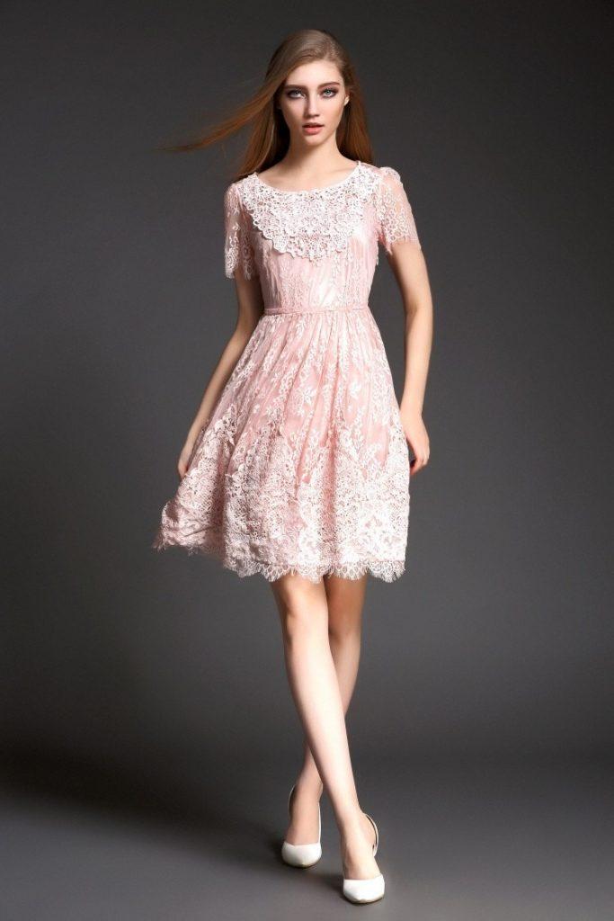 Luxurius Kleid Rosa Spitze Kurz Galerie - Abendkleid