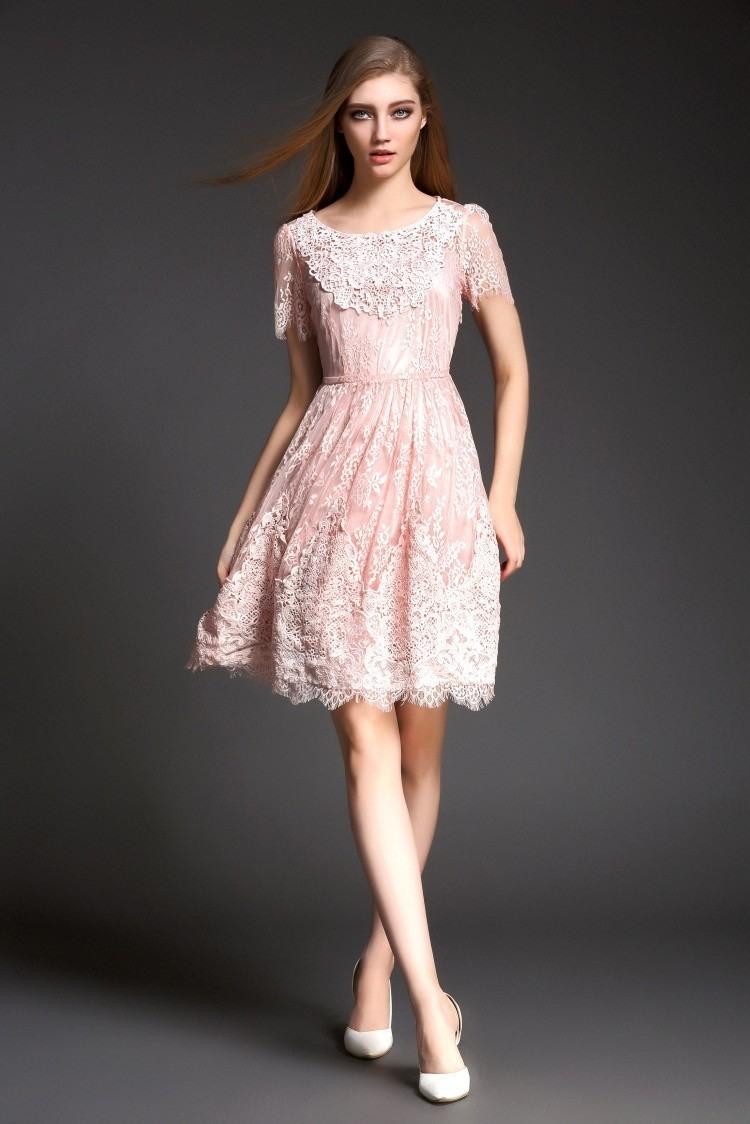 10 Ausgezeichnet Kleid Rosa Spitze Kurz SpezialgebietFormal Genial Kleid Rosa Spitze Kurz Vertrieb