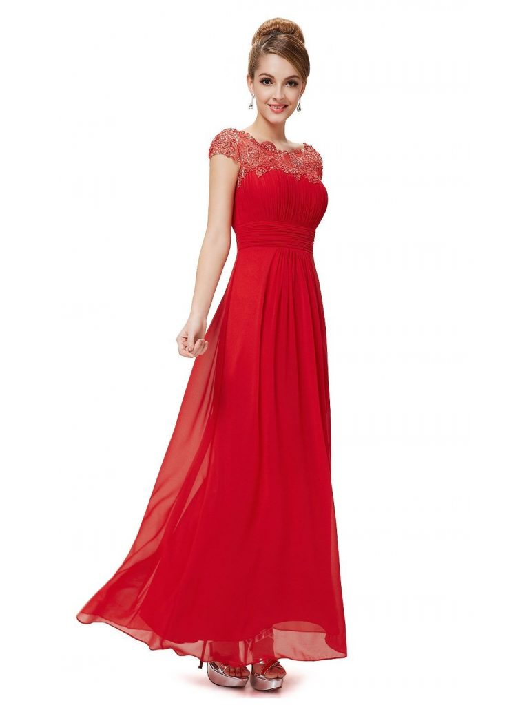 Luxus Abendkleid Rot Lang Spitze Spezialgebiet - Abendkleid
