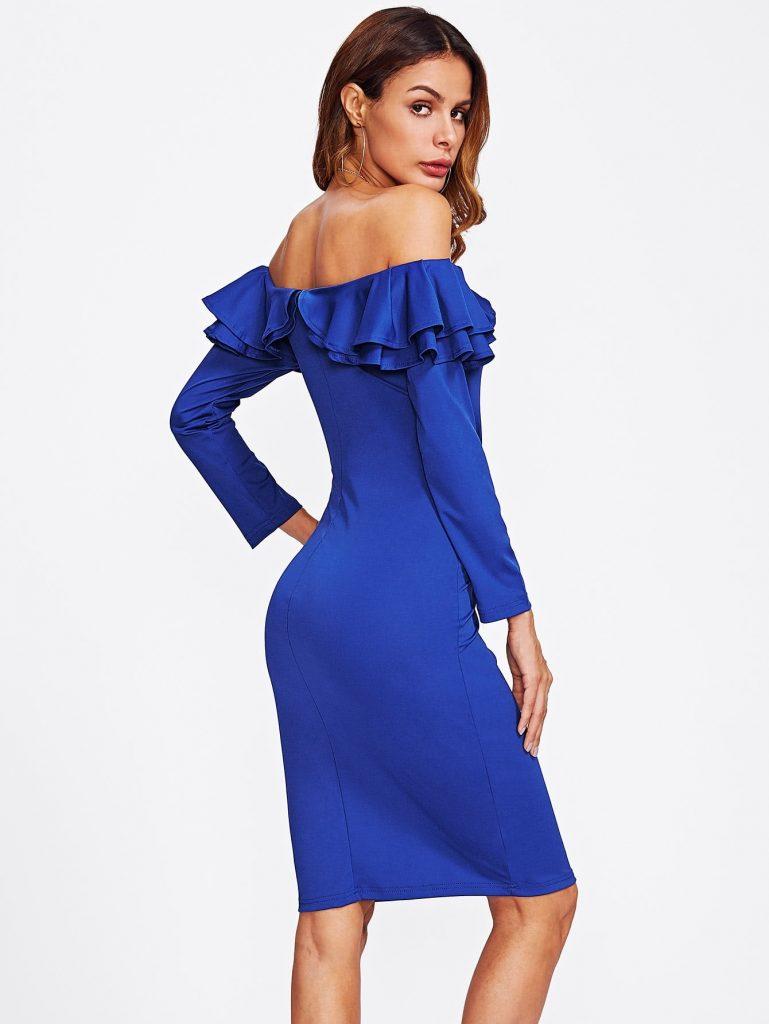 Schön Kleid Blau Langarm Stylish - Abendkleid
