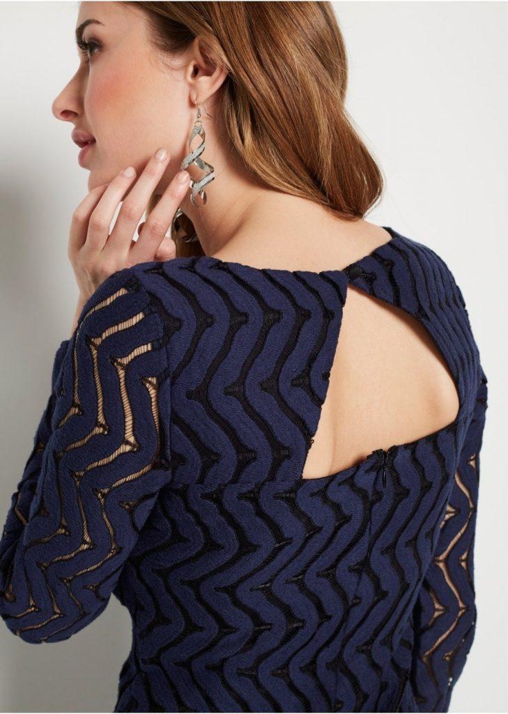 10 Einfach Spitzenkleid Blau Langarm Stylish - Abendkleid