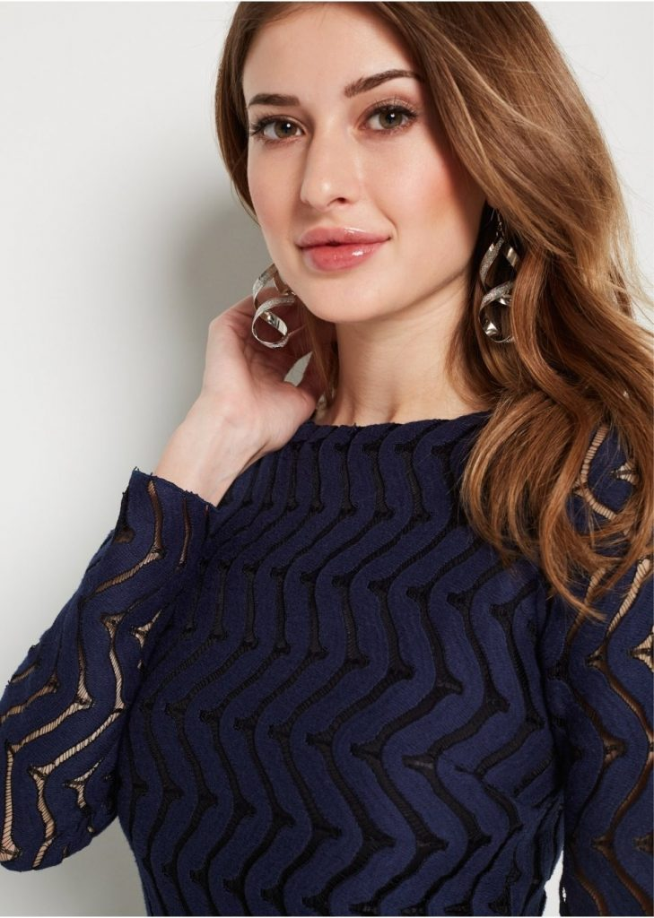 13 Elegant Spitzenkleid Blau Langarm Ärmel - Abendkleid
