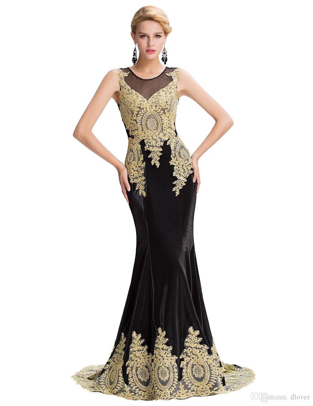 10 Genial Abendkleid Schwarz Gold Lang ÄrmelDesigner Ausgezeichnet Abendkleid Schwarz Gold Lang Galerie