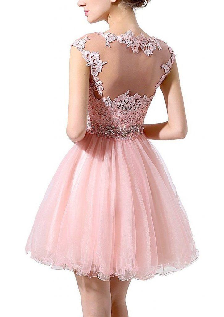 Abend Ausgezeichnet Kleid Altrosa Kurz für 2019 - Abendkleid