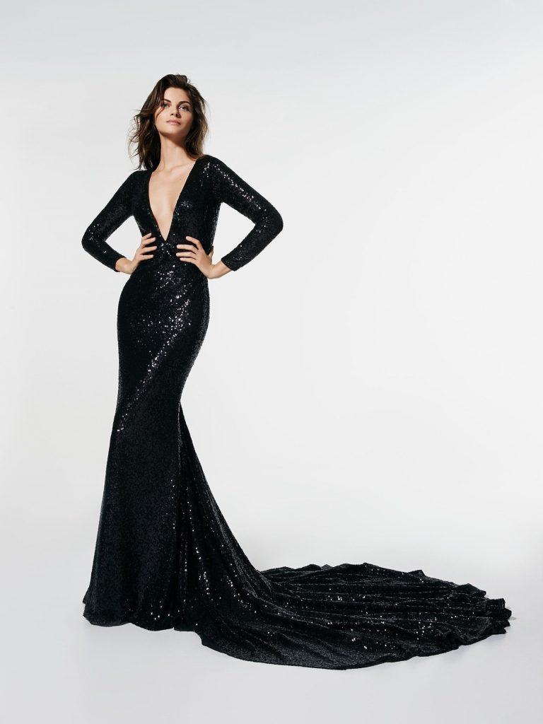 Abend Schön Langes Abendkleid Schwarz Ärmel - Abendkleid