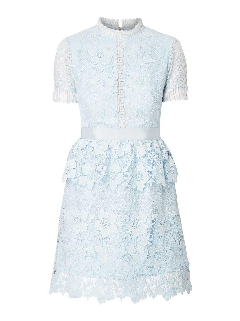 Abend Top Kleid Spitze Hellblau Design - Abendkleid