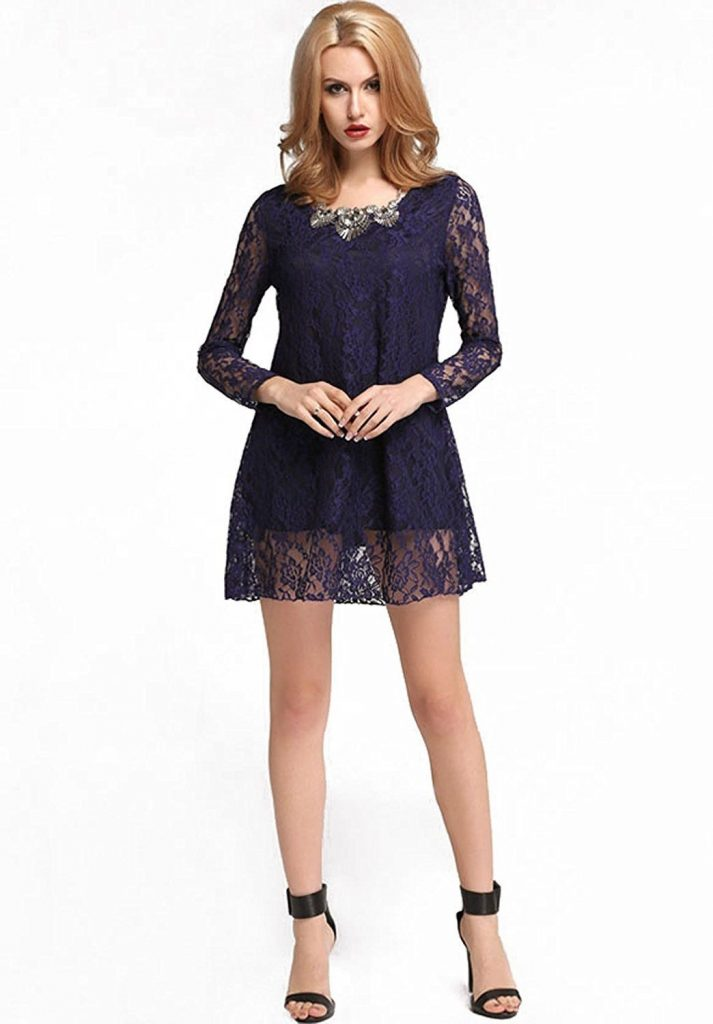 Coolste Spitzenkleid Blau Langarm Boutique - Abendkleid