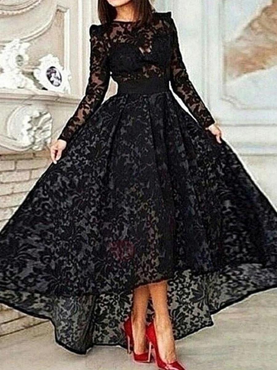 Abend Erstaunlich Abendkleid Lang Schwarz Spitze Ärmel10 Leicht Abendkleid Lang Schwarz Spitze Stylish