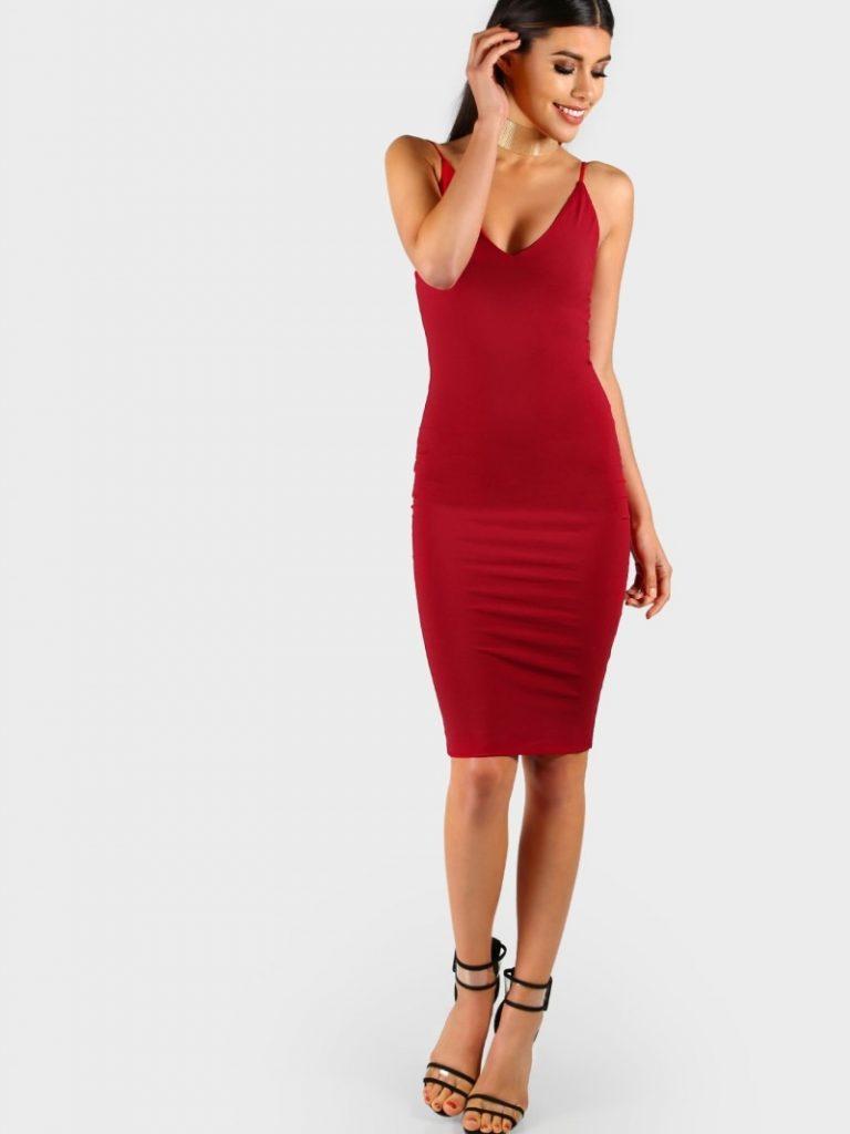 Elegant Kleid Rot Midi Ärmel - Abendkleid