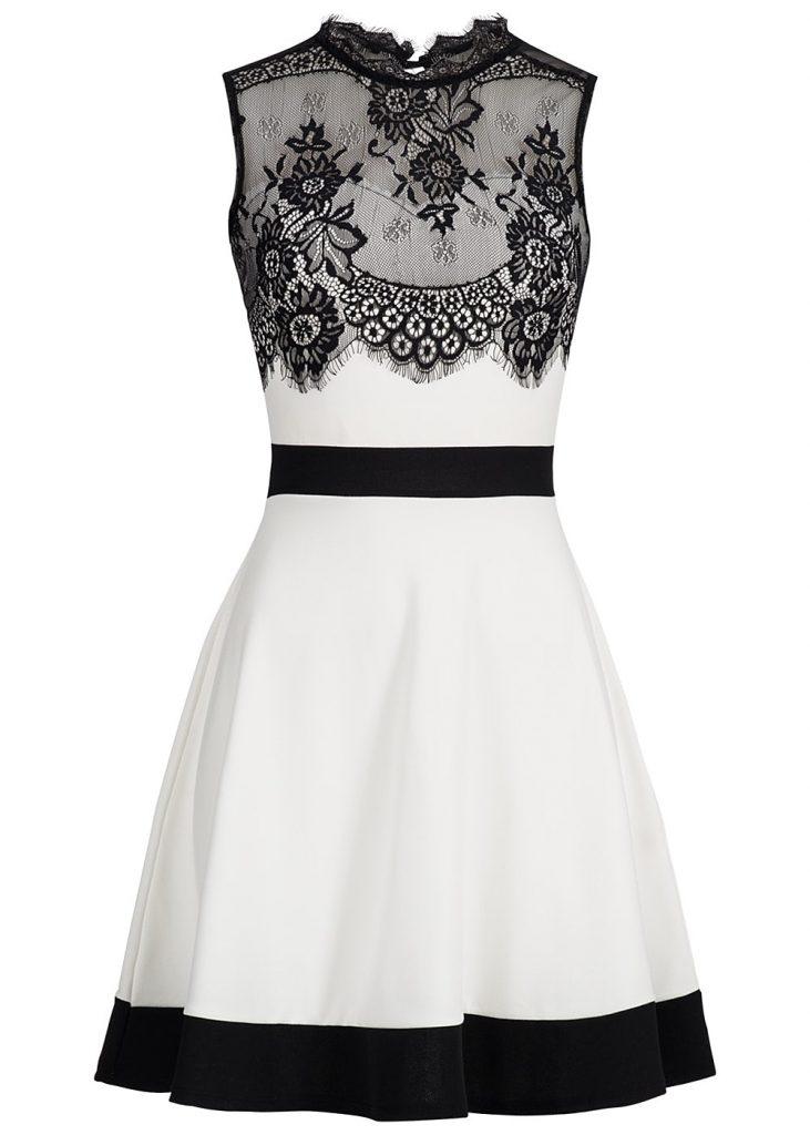 Elegant Schwarz Weiß Kleid Bester Preis - Abendkleid