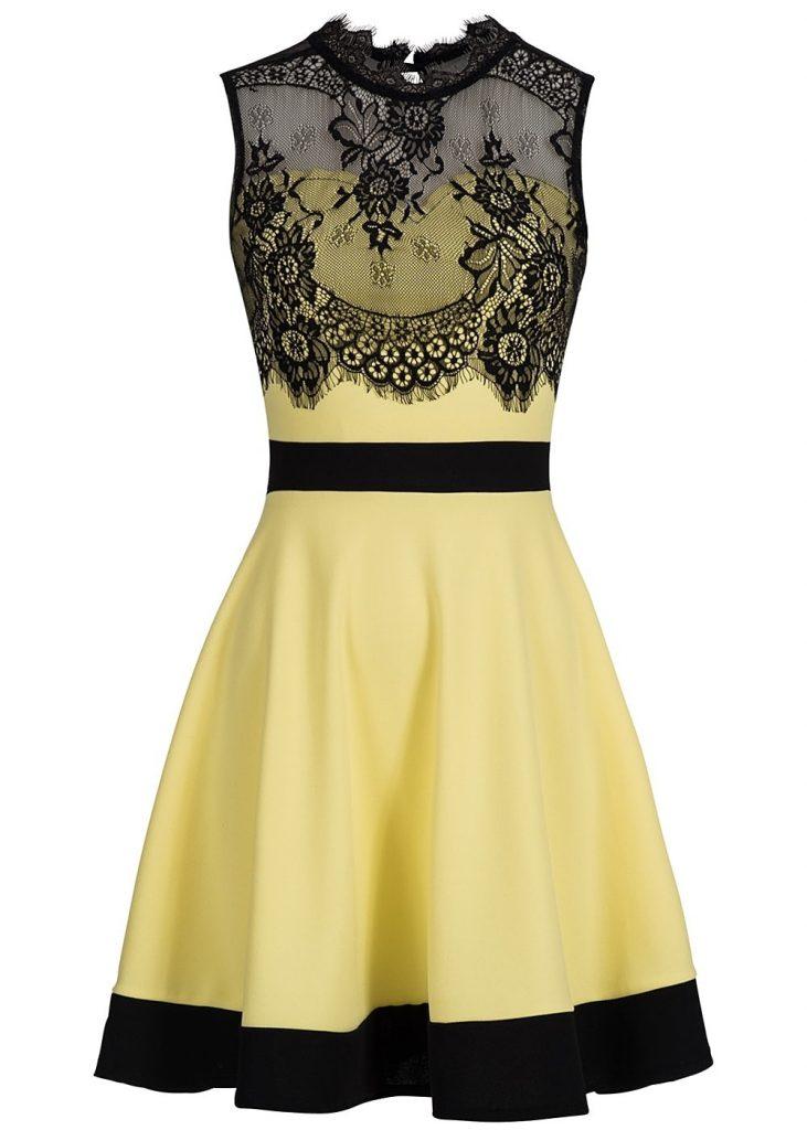 Formal Leicht Kleid Gelb Spitze Ärmel - Abendkleid