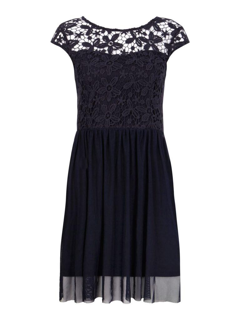 Schön Kleid Blau Mit Spitze für 18 - Abendkleid