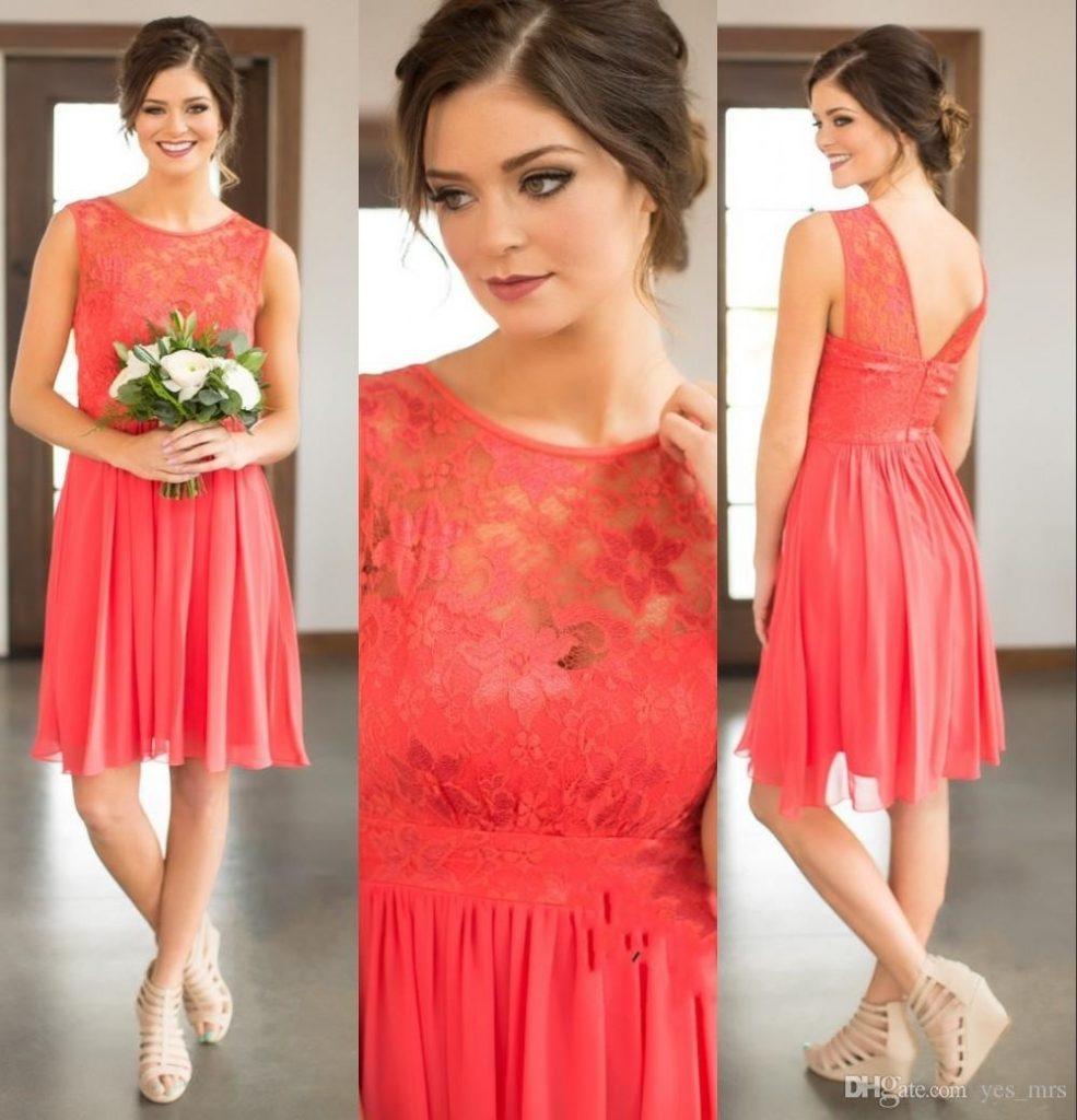 Schön Kleid Koralle Hochzeit Stylish - Abendkleid