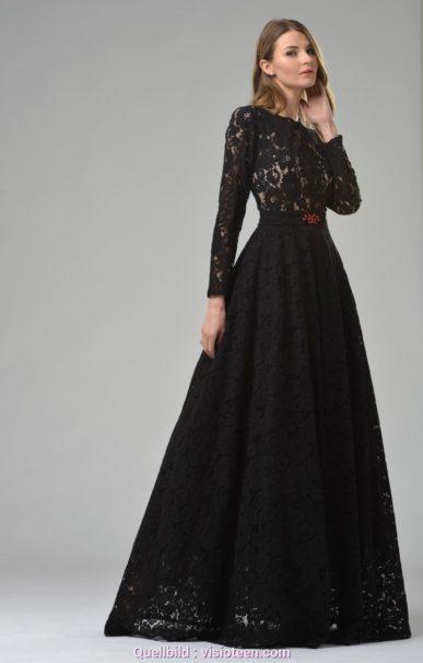 10 wunderbar schwarzes kleid mit spitze langarm