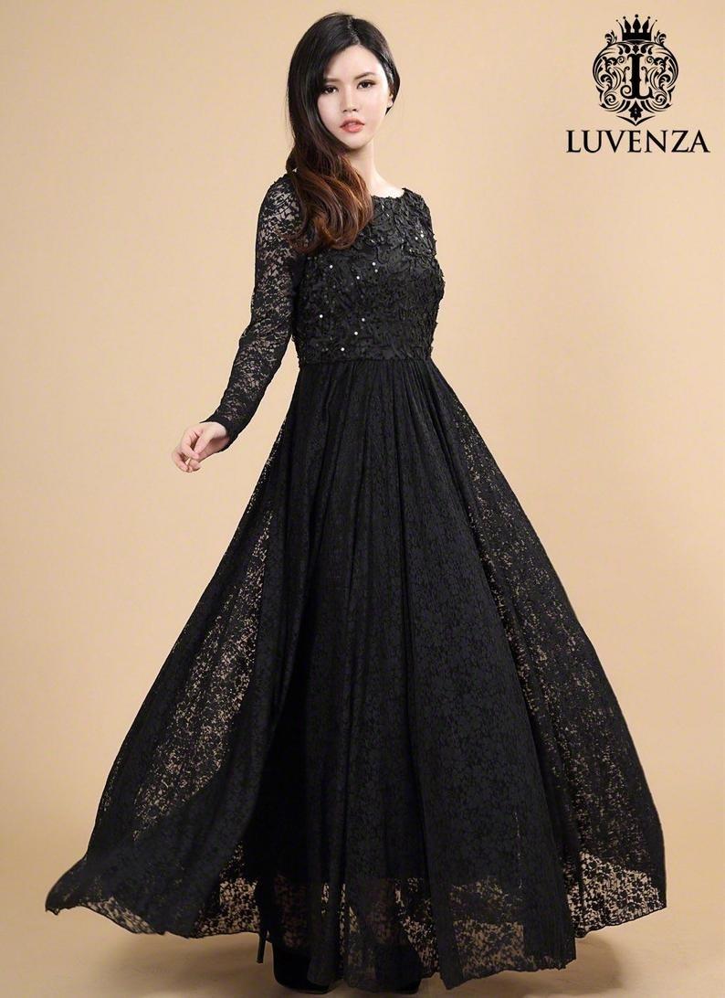 Formal Erstaunlich Schwarzes Kleid Mit Spitze Langarm für 201920 Fantastisch Schwarzes Kleid Mit Spitze Langarm Ärmel