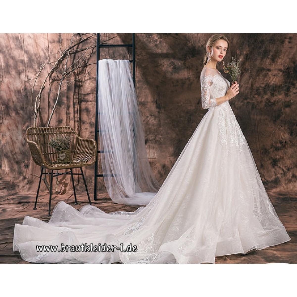 Abend Genial Brautkleid Mit Schleppe Ärmel20 Ausgezeichnet Brautkleid Mit Schleppe Stylish