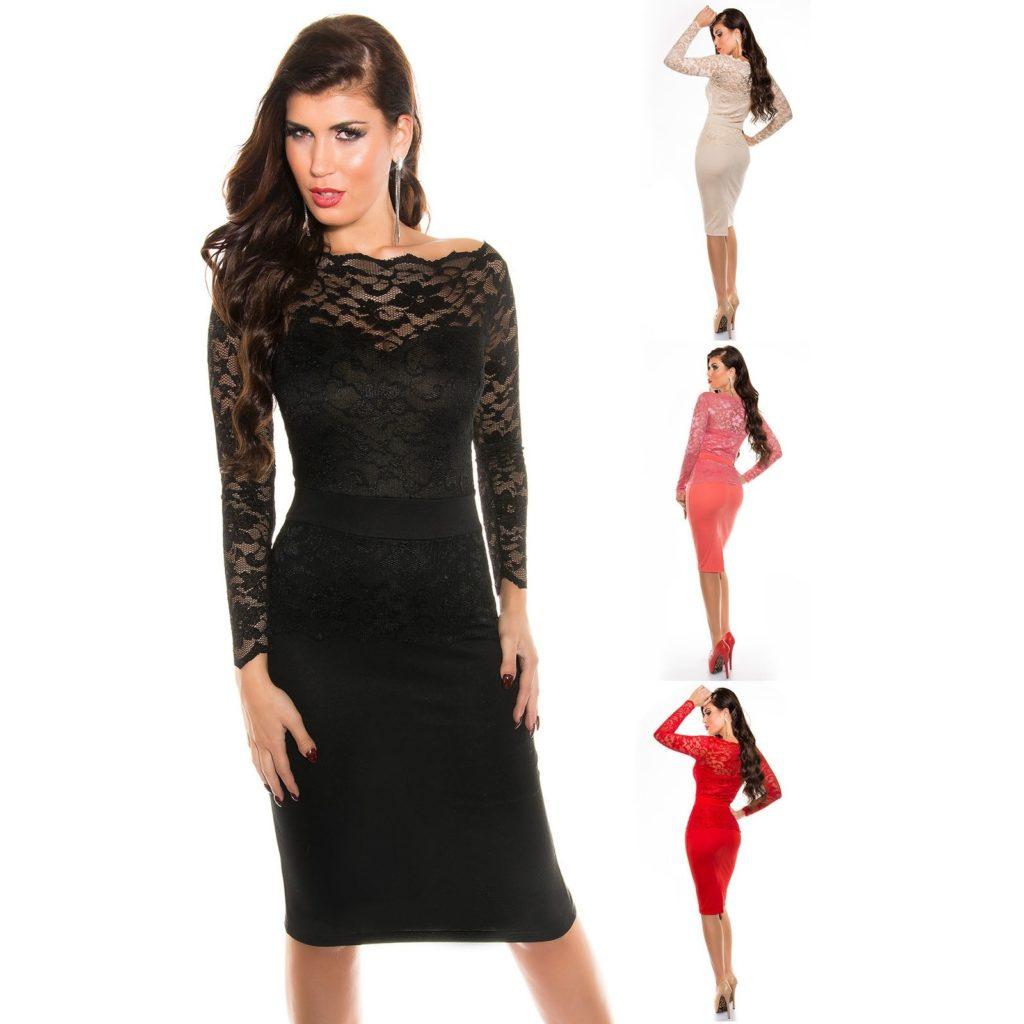 Formal Leicht Kleid Spitze Langarm ÄrmelDesigner Kreativ Kleid Spitze Langarm Design