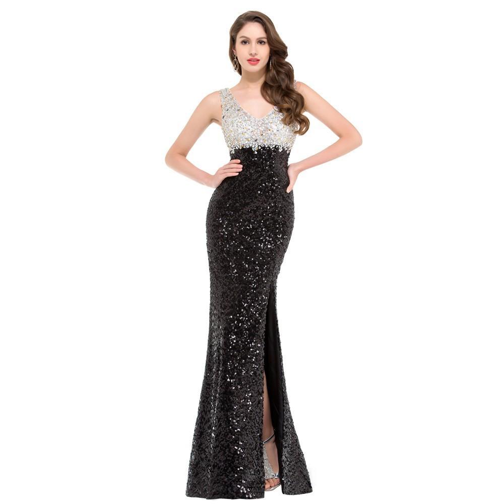 Elegant Abendkleid Lang Schwarz Glitzer Boutique - Abendkleid