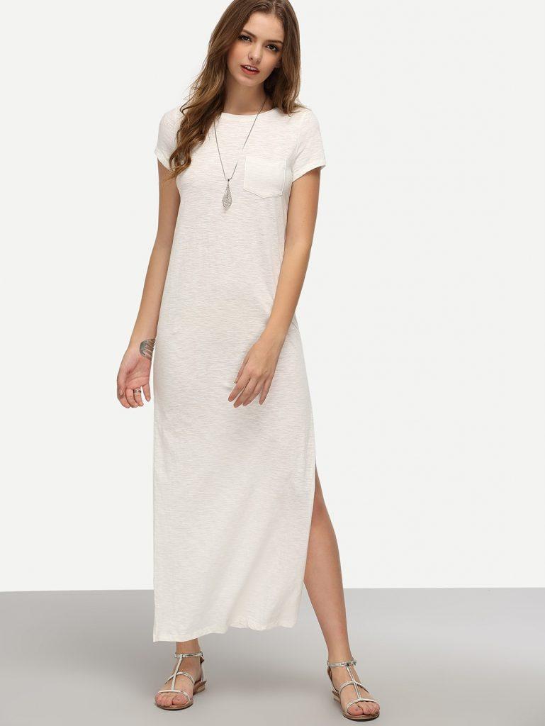 Designer Kreativ Sommerkleid Weiß Lang Design - Abendkleid