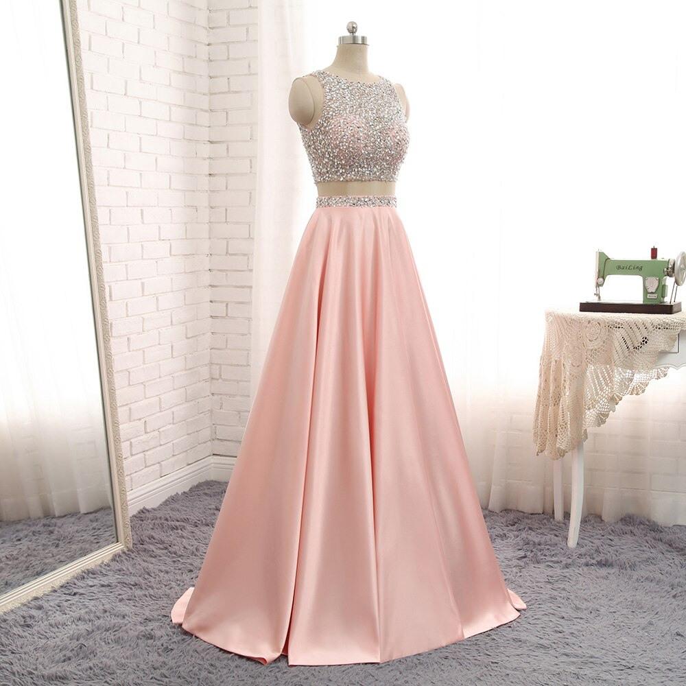 Formal Luxus Abendkleider Lang Pink Ärmel Kreativ Abendkleider Lang Pink für 2019