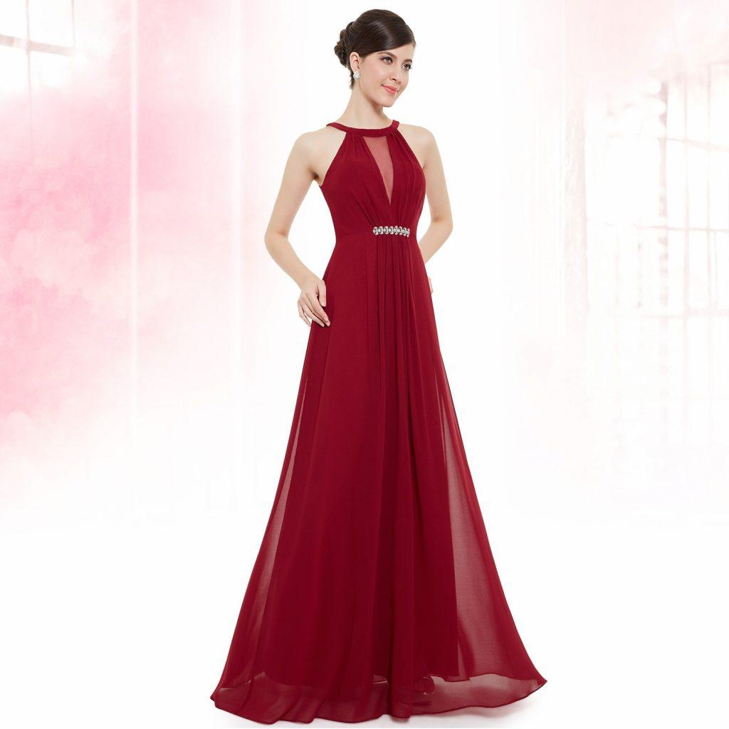 12 Luxurius Abendkleid Dunkelrot Lang Bester Preis - Abendkleid