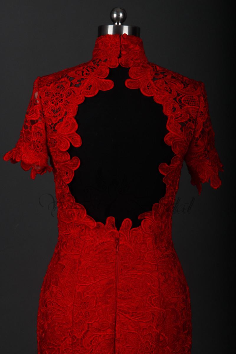 Ausgezeichnet Rotes Kleid Mit Spitze GalerieDesigner Schön Rotes Kleid Mit Spitze Ärmel