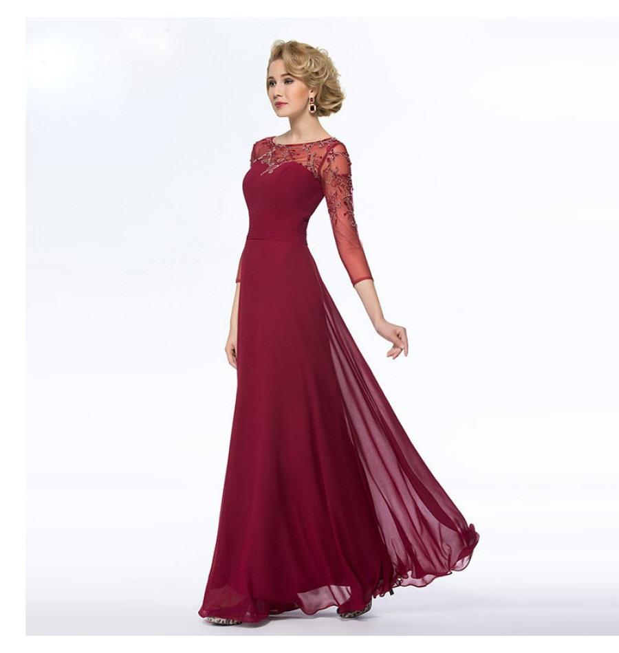 11 Schön Abendkleid Dunkelrot Ärmel - Abendkleid