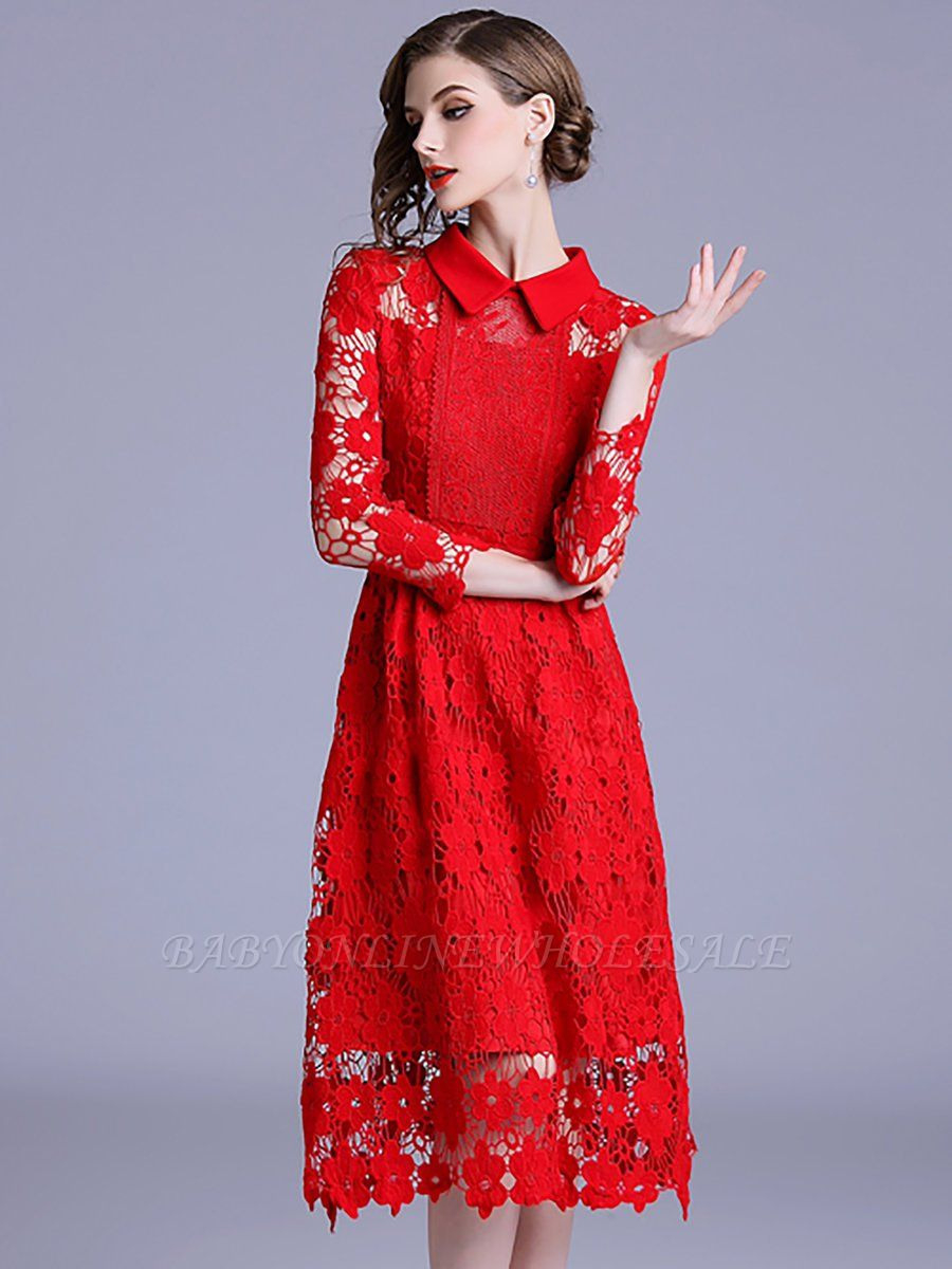Formal Einfach Rote Kleider Knielang ÄrmelDesigner Genial Rote Kleider Knielang Vertrieb