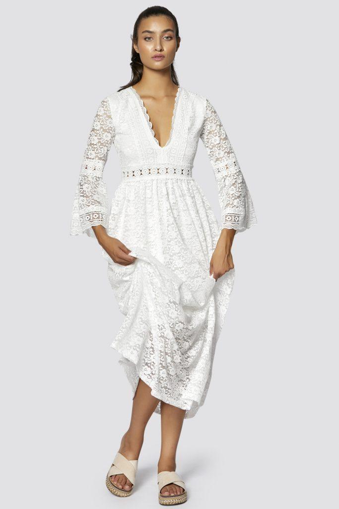 Designer Luxus Kleid Lang Weiß Bester Preis - Abendkleid