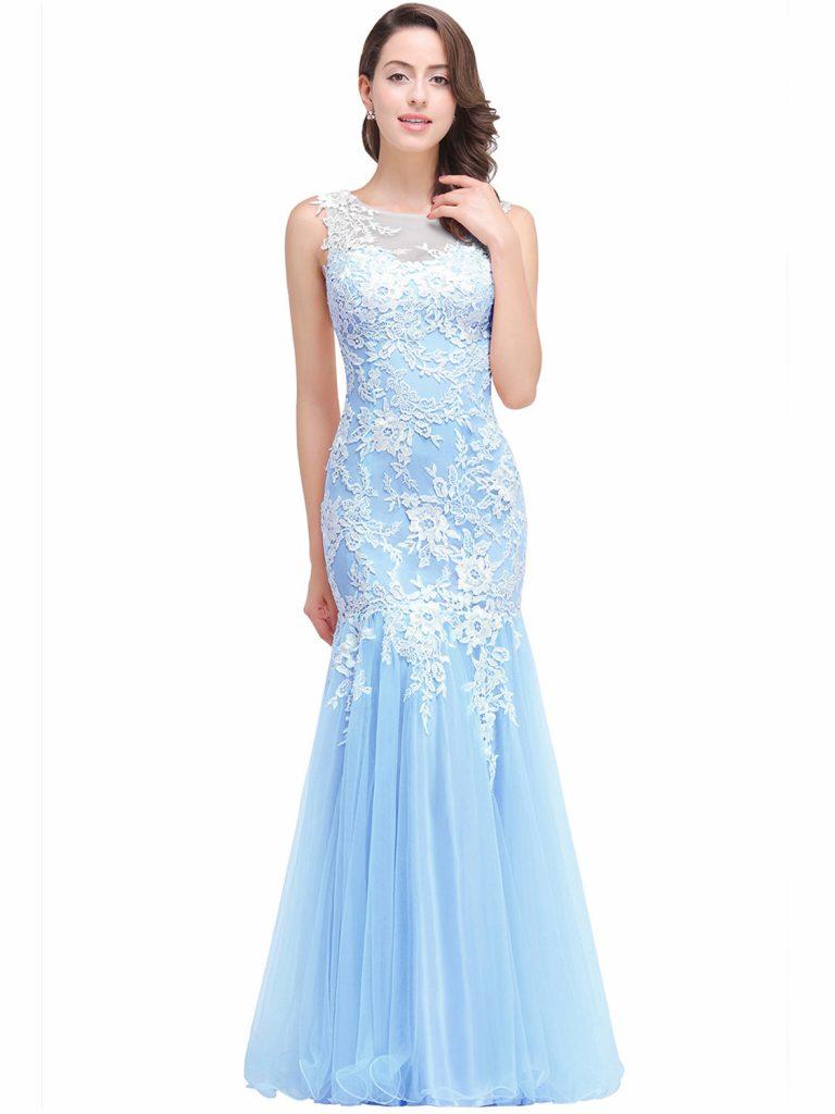 Designer Perfekt Abendkleid Hellblau Ärmel - Abendkleid