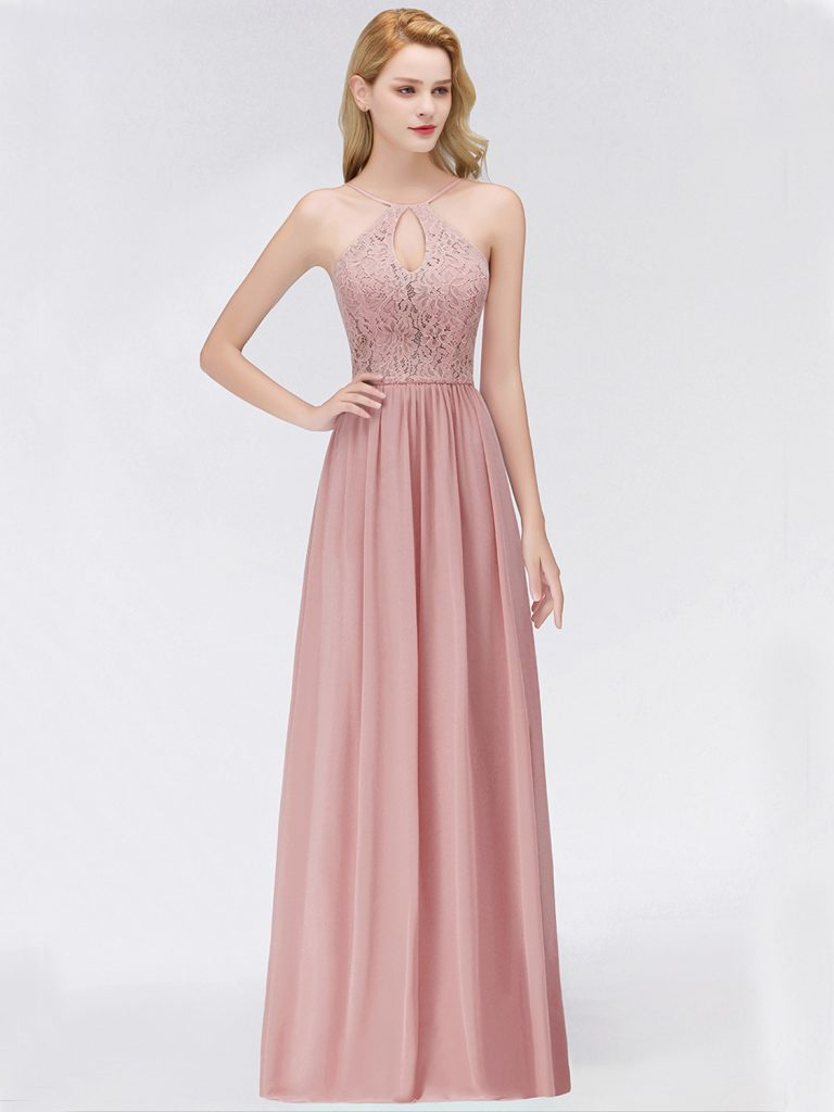 Designer Perfekt Altrosa Kleid Lang Stylish - Abendkleid