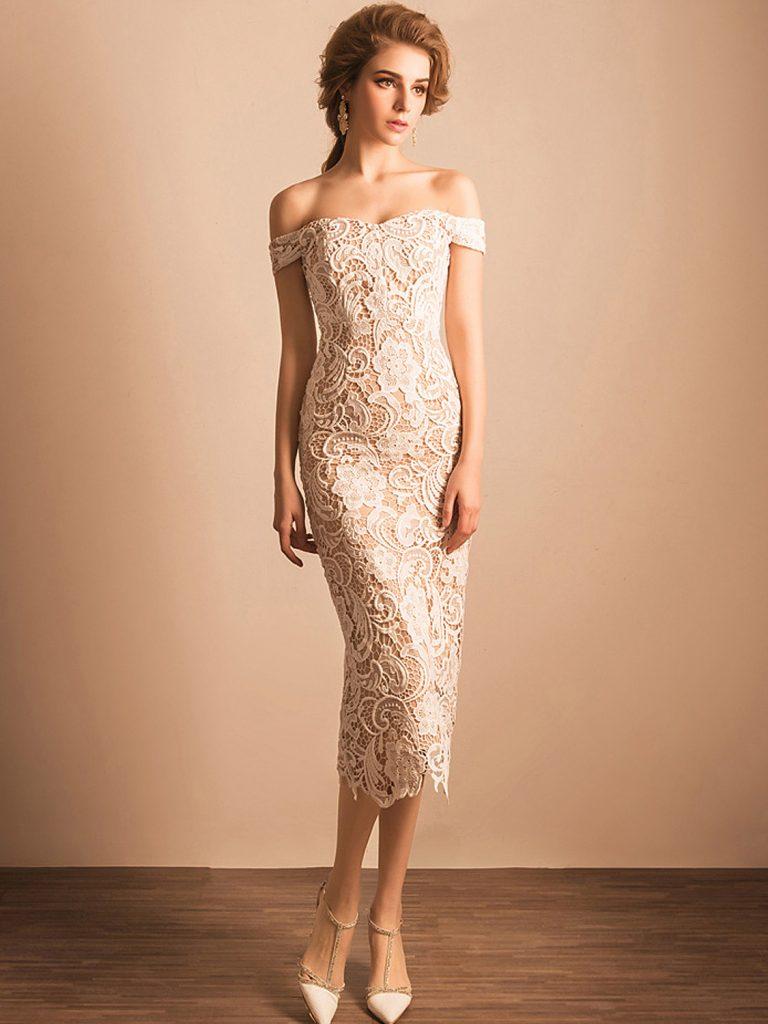 Formal Schön Abendkleid Carmen Ausschnitt Vertrieb - Abendkleid