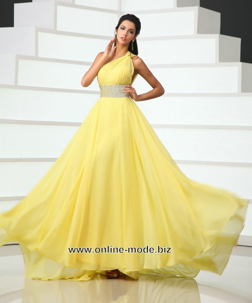 Leicht Gelbe Abend Kleider Spezialgebiet - Abendkleid
