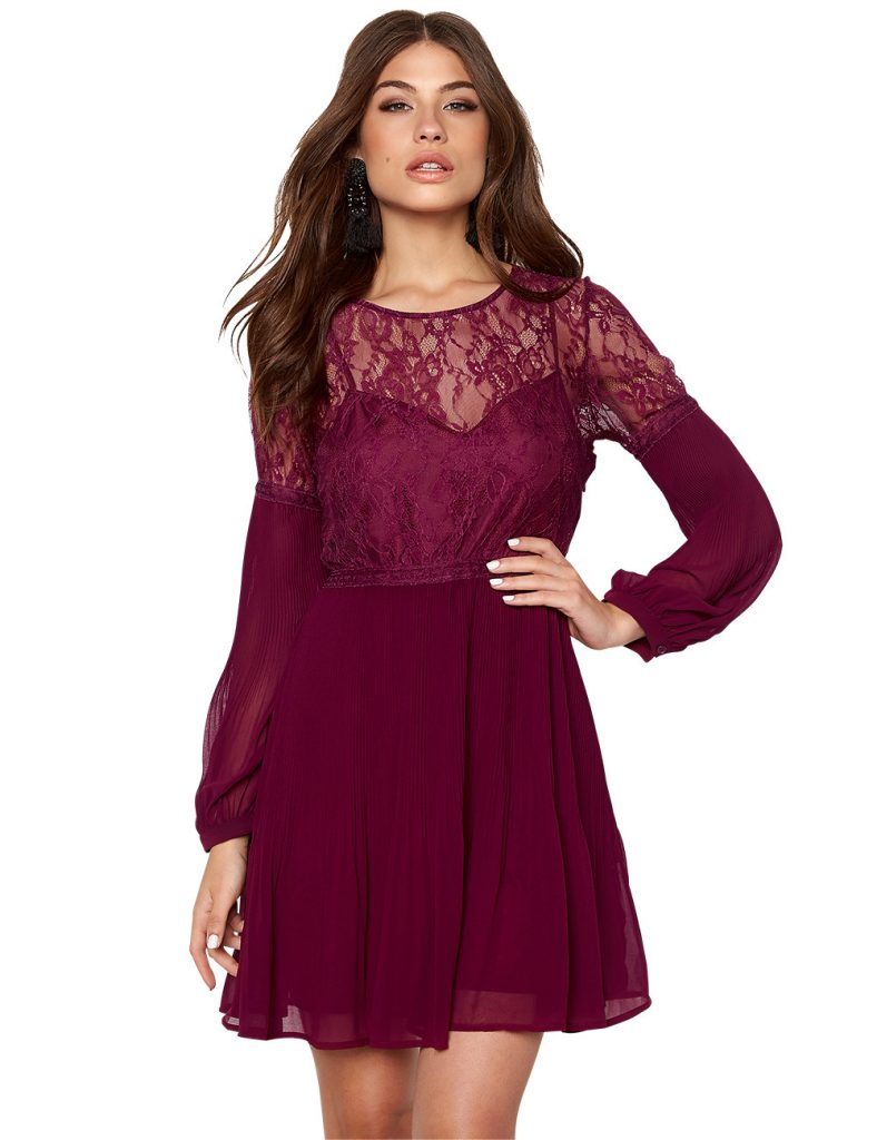 Luxus Kleid Spitze Bordeaux Ärmel - Abendkleid