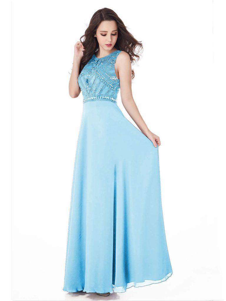 Schön Abendkleid Hellblau Design - Abendkleid