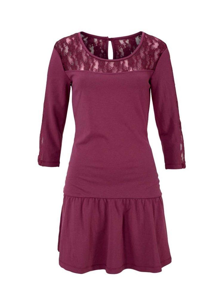 Schön Kleid Spitze Bordeaux Ärmel - Abendkleid