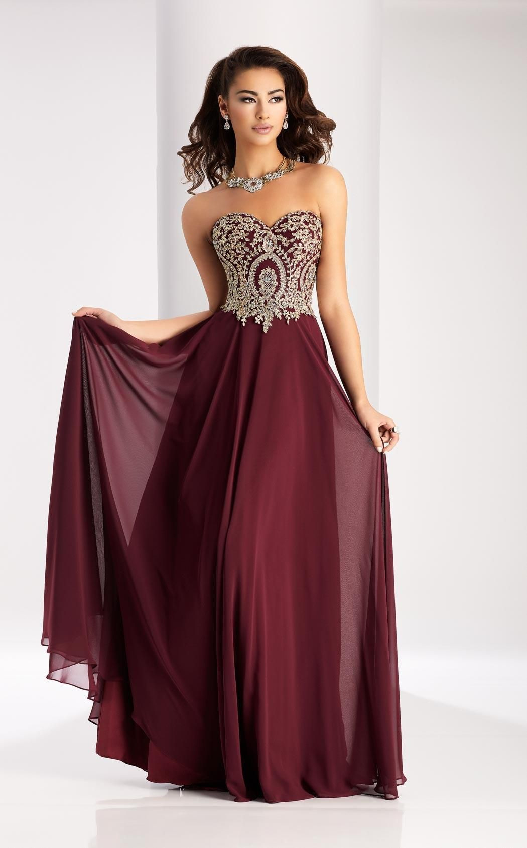 Top Abendkleid Bordeaux Lang Design - Abendkleid