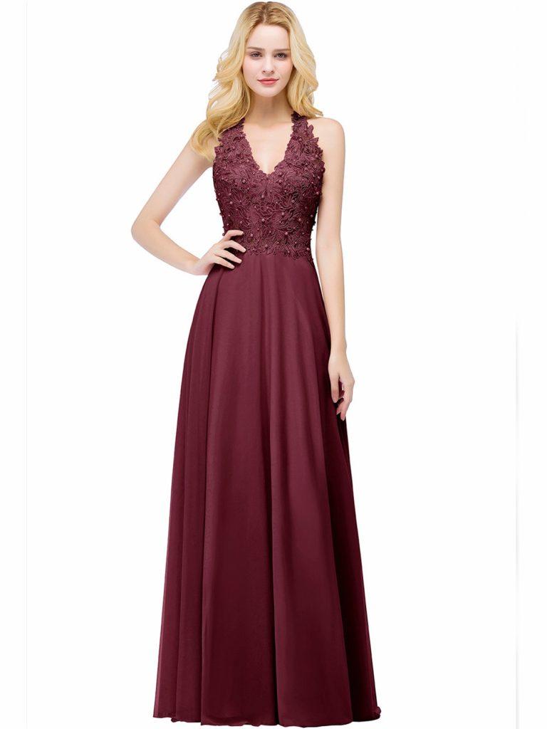 10 Elegant Abendkleid Weinrot Lang für 2019 - Abendkleid