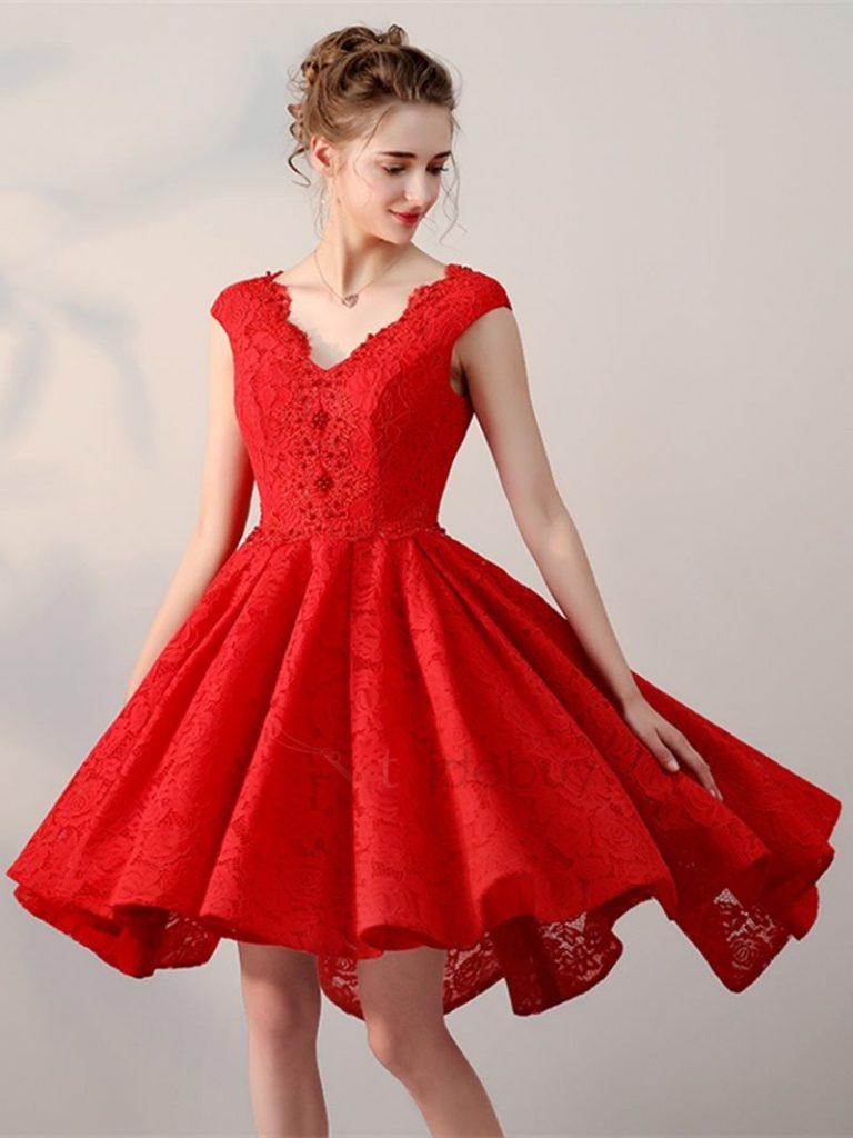 10 Elegant Kleid Rot Kurz Ärmel - Abendkleid