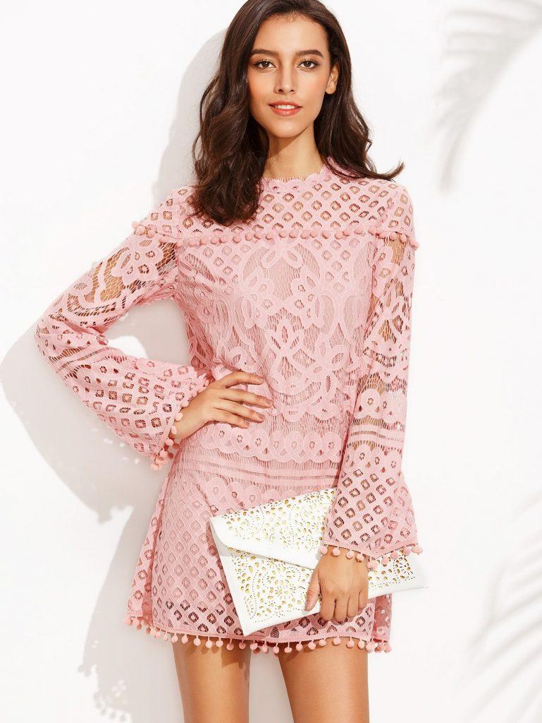 Wunderbar Rosa Kleid Langarm VertriebDesigner Leicht Rosa Kleid Langarm für 2019