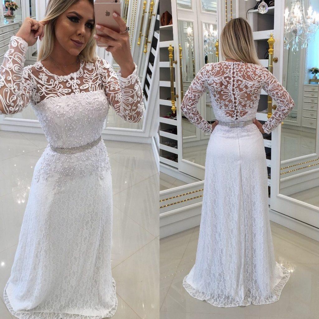 Schön Abendkleid Weiß Lang Spitze für 201910 Luxus Abendkleid Weiß Lang Spitze Vertrieb